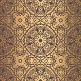 Golden Arabesque Pattern. Vector arabesque pattern. Seamless flourish mandala background with golden floral elements. Intricate ornate lines. Arabic decorative Royalty Free Stock Photo