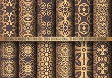 Golden Arabesque Patterns Stock Photography