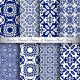Blue Arabesque Patterns Royalty Free Stock Photo