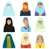 Vector arabian arabic islamic Female woman character faces avatars in different clothes and hair styles. Stock Image