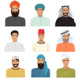 Vector arabian arabic islamic male man character faces avatars in different clothes and hair styles. Royalty Free Stock Photos
