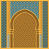 Vector arabic background with traditional window frame and arabic ornaments Stock Image