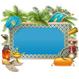 Vector Arabic Frame with Palm Tree Stock Photography
