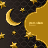 Vector arabic pattern, 3d stylized golden moon, stars and gold frame. Arabesque ornaments for ramadan holiday decoration. Royalty Free Stock Photography