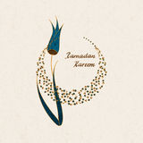 Vector arabic postcard with hand drawn words Ramadan Kareem a flower and a moon symbol Stock Images