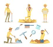 Vector archaeologist characters at work. Cartoon mascots in action poses. Illustration of young adventure and explorer, archaeology traveler royalty free illustration