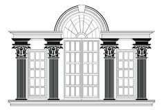 Vector architectural facade. Wire frame blueprint drawing of classic building. Vector architectural template background Stock Photography