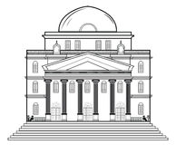 Vector architectural facade. Wire frame blueprint drawing of classic building. Vector architectural template background Royalty Free Stock Photos