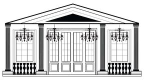 Vector architectural facade. Wire frame blueprint drawing of classic luxury building. Vector architectural template background Royalty Free Stock Photos