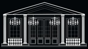 Vector architectural facade. Wire frame blueprint drawing of classic luxury building. Vector architectural template background Royalty Free Stock Image