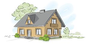Vector architectural hand drawing traditional house Royalty Free Stock Images