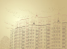 Vector architectural sepia urban background Stock Photography