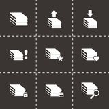 Vector archive icon set. On black background Royalty Free Stock Photo