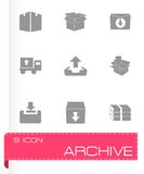 Vector archive icon set. On grey background Stock Images