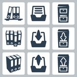 Vector archive icons set. Vector isolated archive icons set Royalty Free Stock Images