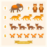 Vector arithmetic illustrations for children with animals. Vector arithmetic illustrations for children with cartoon animals Royalty Free Stock Image