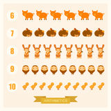 Vector arithmetic illustrations for children with animals. Vector arithmetic illustrations for children with cartoon animals Royalty Free Stock Photos