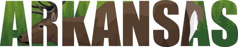Vector Arkansas - palabra del estado americano con arbolado de los ciervos y del bosque Imagen de archivo libre de regalías