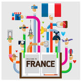 Vector arm and hand welcome to France romance Royalty Free Stock Photo
