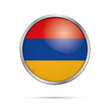 Vector Armenian flag Button. Armenia flag in glass button style. Royalty Free Stock Photo