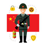 Vector Army of China. Flat style colorful Cartoon illustration. Royalty Free Stock Photos
