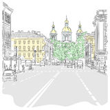 Vector a arquitectura da cidade, a avenida larga com vistas do th ilustração stock