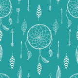 Vector arrow background, retro pattern, etnic. Doodle collection, tribal design. Ink hand drawn illustration with indian arrows, feathers and dreamcatcher on Royalty Free Stock Images