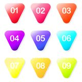 Vector arrow ball point colorful gradient markers with a number from one to nine. Website and advertising signs royalty free illustration