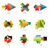 Vector arrow business geometric stickers Royalty Free Stock Image