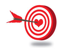 Vector Arrow in heart. Vector clip-art of bulls eye arrow in the heart Royalty Free Stock Image
