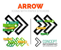Vector arrow linear style icons, 3d cut out relief with sticker - buttons. Arrow banner elements. Can be used as direction theme infographics, parts labelling Stock Images