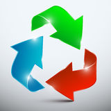 Vector Arrow. Red, Green and Blue 3D Arrows. In Endless Circle Royalty Free Stock Image
