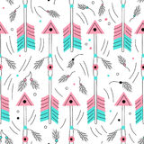 Vector arrow seamless pattwern. Cute archery elements. Traditional background. Hand drawn native american wallpaper. Stock Photography