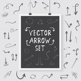Vector Arrow Set Poster on a Wall. Handdrawn Vector Arrows  Royalty Free Stock Images