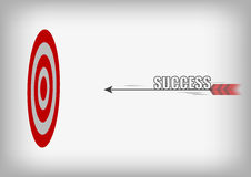 Vector : Arrow with success and archery target on gray backgroun Royalty Free Stock Images