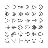 Vector arrow thin line icon set. Flat design Royalty Free Stock Images