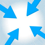 Vector arrow to center. Blue arrows tip-to-tip pointing to a center point Stock Photography