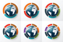 Vector arrows around the Earth for infographic. Template for cycle diagram, graph, presentation and round chart. Business concept with 3, 4, 5, 6, 7 and 8 Royalty Free Stock Images