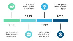Vector arrows circles timeline infographic, diagram chart, graph presentation. Business progress concept with 4 options. Circle arrows diagram for graph Stock Photo