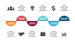 Vector arrows circles timeline infographic, diagram chart, graph presentation. Business progress concept with 6 options. Circle arrows diagram for graph Royalty Free Illustration