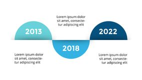 Vector arrows circles timeline infographic, diagram chart, graph presentation. Business progress concept with 3 options. Circle arrows diagram for graph Stock Photography