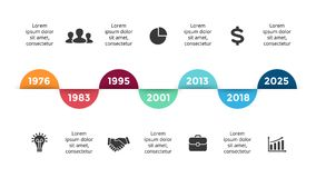Vector arrows circles timeline infographic, diagram chart, graph presentation. Business progress concept with 7 options. Circle arrows diagram for graph Stock Image