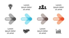 Vector arrows circles timeline infographic, diagram chart, graph presentation. Business progress concept with 4 options. Circle arrows diagram for graph Royalty Free Stock Photo