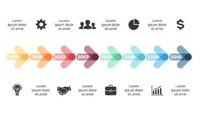 Vector arrows circles timeline infographic, diagram chart, graph presentation. Business progress concept with 8 options. Circle arrows diagram for graph Stock Illustration