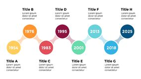 Vector arrows circles timeline infographic, diagram chart, graph presentation. Business progress concept with 8 options. Circle arrows diagram for graph Stock Image