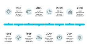 Vector arrows circles timeline infographic, diagram chart, graph presentation. Business progress concept with 8 options. Circle arrows diagram for graph Royalty Free Stock Image