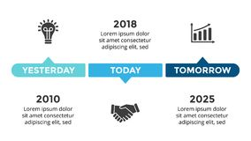 Vector arrows circles timeline infographic, diagram chart, graph presentation. Business progress concept with 3 options. Circle arrows diagram for graph Royalty Free Stock Images