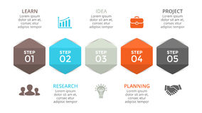 Vector arrows hexagons timeline infographic, diagram chart, graph. Business concept with 5 options, parts, steps. Circle arrows diagram for graph infographic Stock Photos