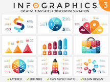 Vector arrows infographic, cycle diagram, progress graph, presentation pie chart. Business template with 3, 4, 5, 6, 7. Circle arrows diagram for graph Stock Photo