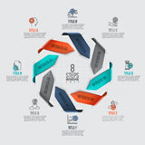 Vector arrows infographic. Template for cycle diagram, graph, presentation and chart. Business concept with 8 options, parts, steps or processes. Data Royalty Free Stock Image